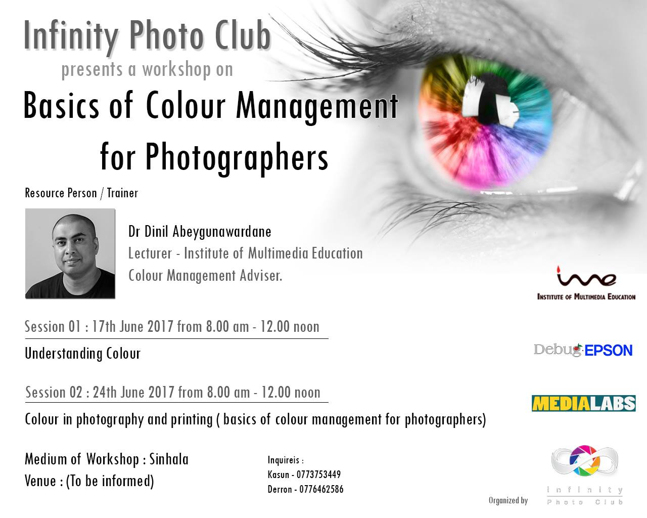 colour mangement - infinity photo club - flyer - ime